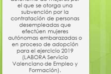 Programa de ayuda destinada al mantenimiento del trabajo autónomo de mujeres por el que se otorga una subvención por la contratación de personas desempleadas que efectúen mujeres autónomas embarazadas o en proceso de adopción para el ejercicio 2019