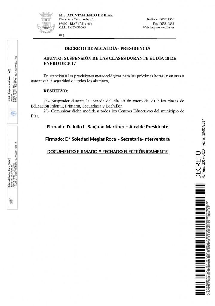 DECRETO 2017-0020 [Decreto de la Alcaldía -nieve-]