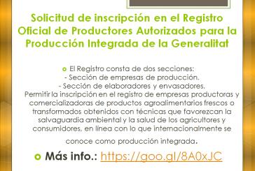 Solicitud de inscripción en el Registro Oficial de Productores Autorizados para la Producción Integrada de la Generalitat