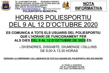 Horari especial de les instal·lacions esportives amb motiu del pont  del 9 i el 12 d'octubre.